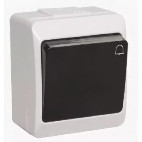 Выключатель ГЕРМЕС 1кл. кноп. открытой установки белый/черная клавиша IP44 ИЭК