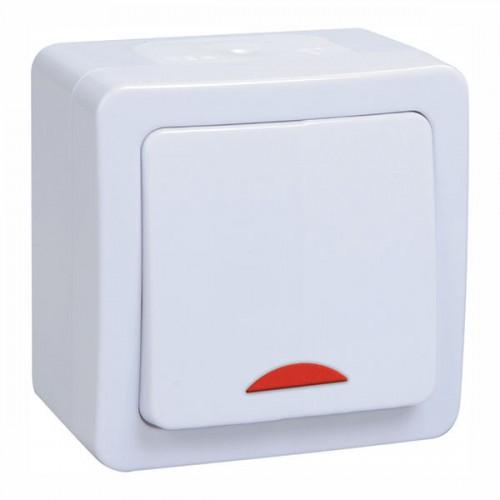 Выключатель ГЕРМЕС PLUS 1кл. с индикатором открытой установки белый ИЭК