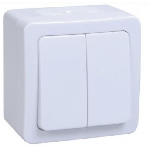 Выключатель ГЕРМЕС PLUS 2кл. открытой установки белый  IP54 ИЭК