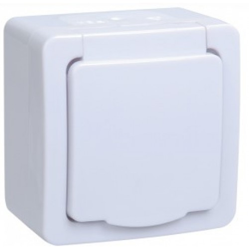 Розетка ГЕРМЕС PLUS 1местная с з/к  для открытой установки с белой крышкой ИЭК