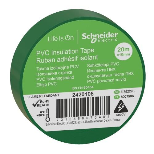 Изолента ПВХ 19мм х20м зеленая 2420106 Schneider