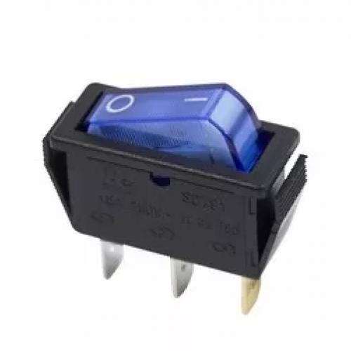 Выключатель клавишный 250V 15A (3c) ON-OFF синий с подсветкой REXANT 36-2211