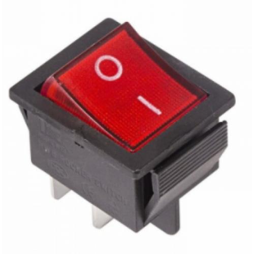 Выключатель клавишный 250V 16A/20A (4c) ON-OFF красный TDM