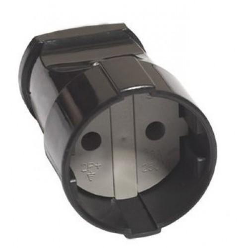 Кабельная розетка TDM 2Р без з/к с защитной шторкой 16А 250В черная