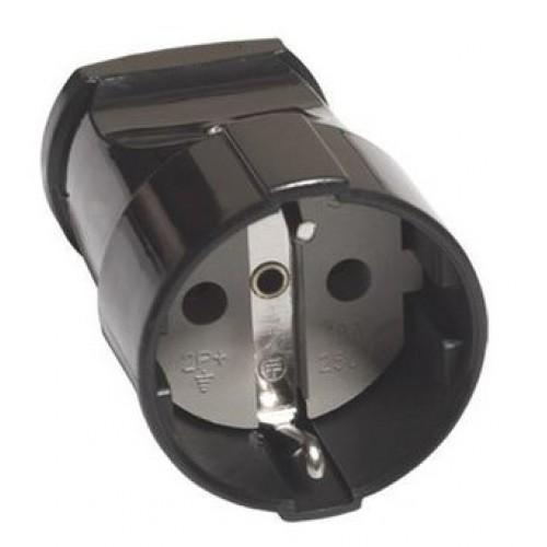 Кабельная розетка TDM 2Р+З с з/ш 16А 250В черная