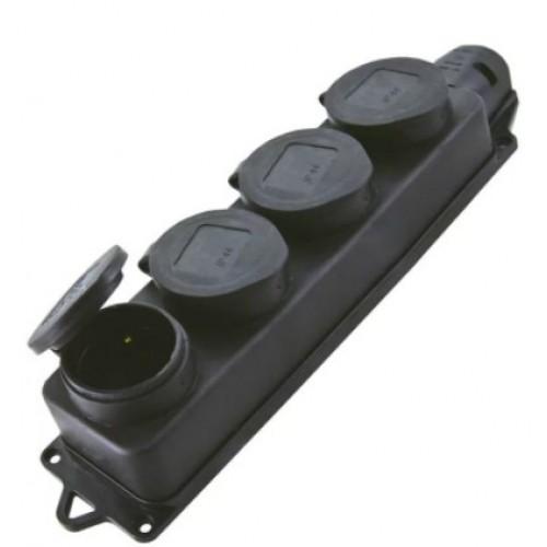 Розетка Universal/1029 4 местн. с защитной крышкой каучук