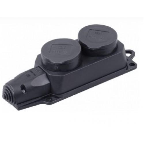 Розетка ОМЕГА 2местн. с защитной  крышкой каучук РБ32-1-Ом ИЭК (PKR62-016-2-K02)