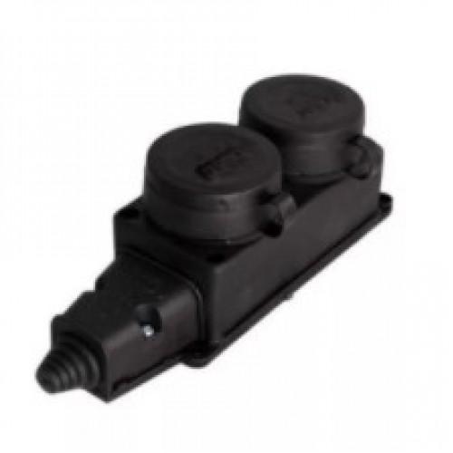 Розетка Электро/ Universal/1027 2 местн. с защитной крышкой каучук