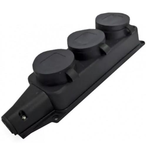 Розетка Электро/Universal/602230 3 местн. с защитной крышкой каучук