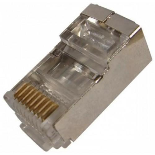 Коннектор RJ45 компьютерный обжимной 8Р8С САТ 5е (экран) REXANT 05-1023