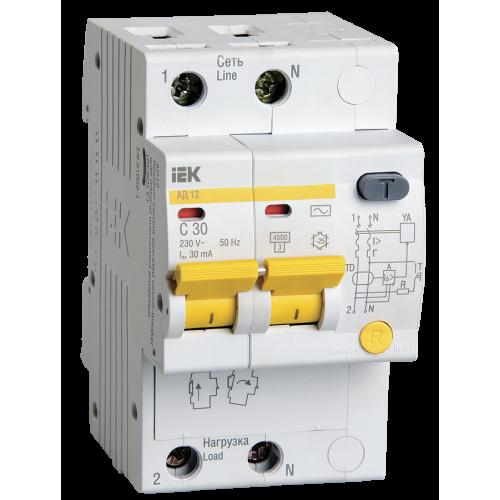 Автоматический выключатель диф. тока ИЭК 2Р C32А 30мА АД 12(дифавтомат)