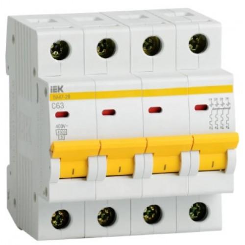 Автоматический выключатель ВА 47-29 4Р 20А 4,5кА х-ка С ИЭК