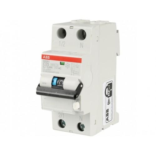 Автоматический выключатель диф. тока ABB 1п+N 2мод.С10A 30mA тип АС DS201 (2CSR255080R1104)