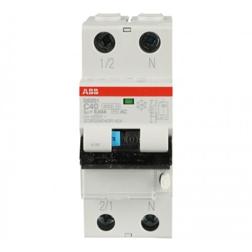 Автоматический выключатель диф. тока ABB 1п+N 2мод.С20A 30mA тип АС DS201 (2CSR255040R1204)