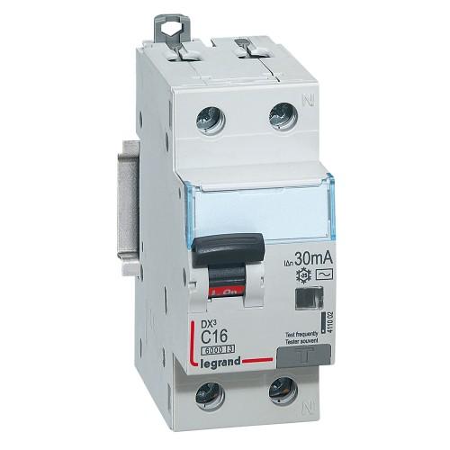 Автоматический выключатель диф. тока Legrand 1п+N 2мод C16А 30mA тип АС DX3 411002