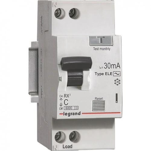 Автоматический выключатель диф. тока Legrand 1п+N 2мод C16А 30mA тип АС RX3 419399
