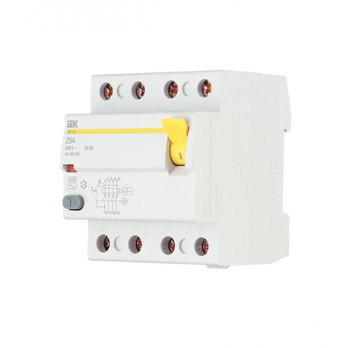 УЗО 4п 25 А 100мА  тип АС ВД1-63 (электромеханическое) ИЭК MDV10-4-025-100