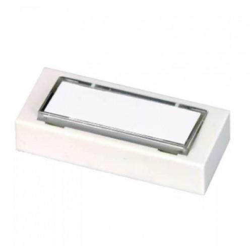 Кнопка звонка белая с табличкой для надписи 1А Т-01-1А-250В ТРИТОН