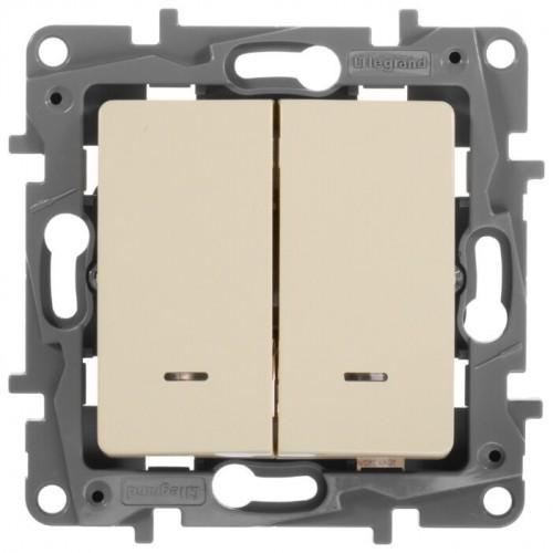 Выключатель 2 кл. с подсветкой слоновая кость LEGRAND ETIKA 672304