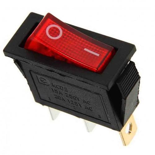 Выключатель клавишный 250 V 15A (3c) ON-OFF красный с подсветкой REXANT 36-2210
