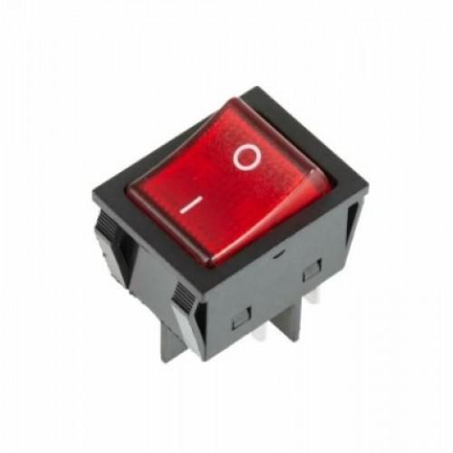 Выключатель клавишный 250 V 25A (4c) ON-OFF красный с подсветкой REXANT 36-2343