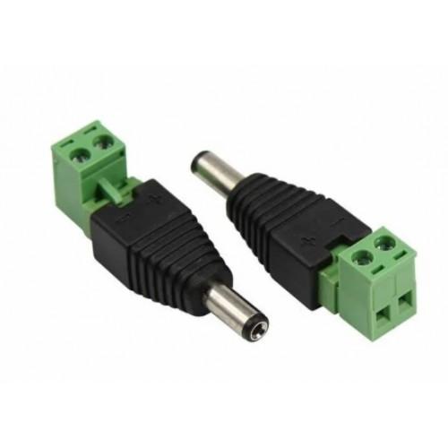Разъем питания штекер 2,1х5,5 с клемн. колодкой для кабеля КВК REXANT 14-0314