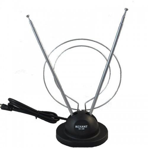 Антенна комнатная телескопическая RX-100 на подставке VHF UHF 47-860 MHz REXANT 34-0100