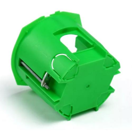 Коробка установочная для полых стен 68х60 глубокая зеленая (с саморез.,метал.лапки) HEGEL 1205